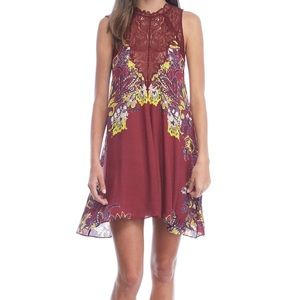 Free People Marsha Printed Slip Dress Wine